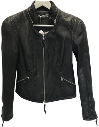 Dna Black Leather Leather Jacket for Women