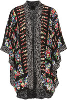 Anna Sui Corded lace-paneled floral-print silk-voile jacket