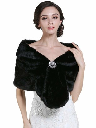 Zoestar Women's Faux Fur Shawl Black Wedding Fur Stoles and Wraps Fancy Dress for Bride and Bridesmaid