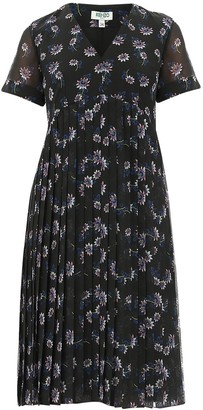 Kenzo Flower Print Pleated Dress