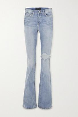 Amiri Distressed Stretch-denim High-rise Flared Jeans - Blue