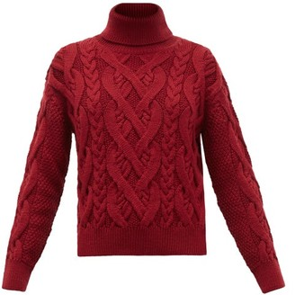 Nili Lotan Wooster Roll-neck Merino Wool Sweater - Womens - Burgundy