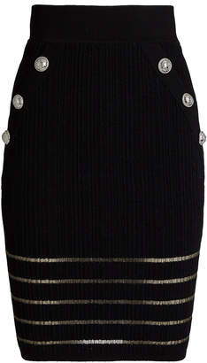 Balmain Striped Knit Pencil Skirt