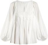 Chloé Long-sleeved seersucker-silk blouse