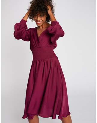 Morgan Laced Flared Midi Dress with Long Sleeves