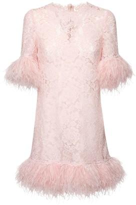 Dolce & Gabbana Silk Sheer Lace Mini Dress W / Feathers
