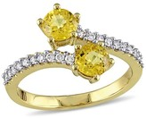 Allura 1.1 CT. T.W. Yellow Sapphire and 1/5 CT. T.W. Diamond 2-Stone Bypass Ring in 10K Yellow Gold