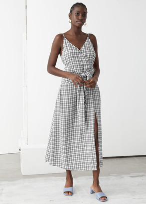 And other stories V-Neck Waist Tie Midi Dress