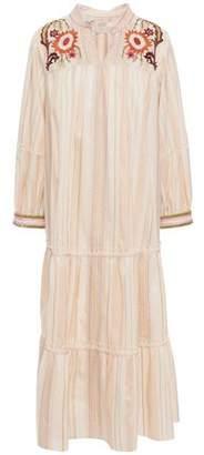 Anna Sui Embellished Gathered Jacquard Midi Dress