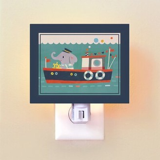 Oopsy Daisy Fine Art For Kids Animal Drivers Boat by Irene Chan Night Light