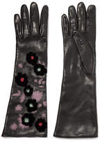 Valentino Appliquéd Embellished Leather Gloves - Black