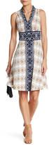 London Times V-Neck Diamond Stripe Print Dress (Petite)