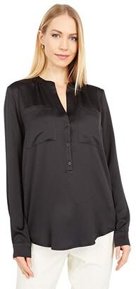 MICHAEL Michael Kors Satin Pocket Shirt (Black) Women's Clothing