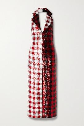 Ashish Gingham Sequined Georgette Halterneck Maxi Dress - Red
