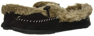 Acorn Cozy Fur Moc (Black) Women's Moccasin Shoes