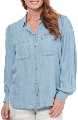 Democracy Blouson Sleeve Chambray Shirt