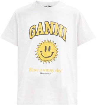 Ganni Smiling Face-print Cotton-jersey T-shirt - White Multi