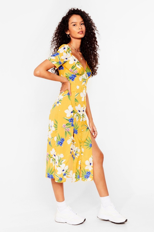 Thumbnail for your product : Nasty Gal Womens Floral Puff Sleeve Summer Midi Dress - Yellow - 4
