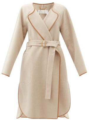 Chloé Leather-trimmed Wool-blend Felt Coat - Cream