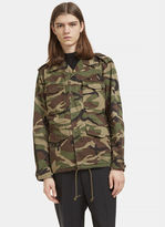 Saint Laurent Love Force Camouflage Military Jacket In Khaki