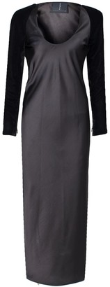 Rue Agthonis Silk Base Dress With Velvet Sleeves