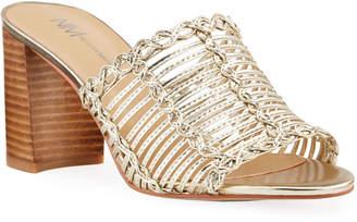 Neiman Marcus Dana Metallic Caged Heel Slide Sandals