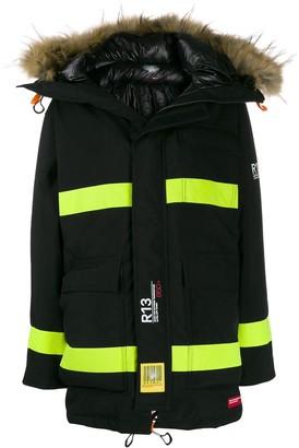 R 13 Colour-Block Parka Coat