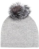 Neiman Marcus Fur-Pompom Knit Hat, Gray