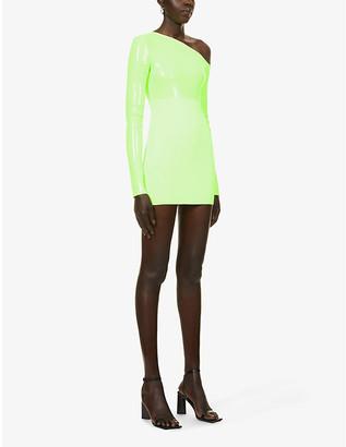 David Koma Sequin-embellished one-shoulder stretch-knit mini dress