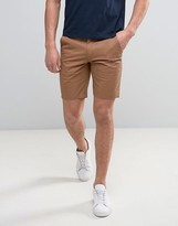 Farah Hawk Straight Chino Shorts In Camel