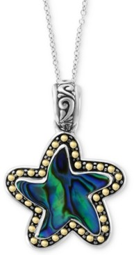 "Effy Paua Shell Starfish 18"" Pendant Necklace in Sterling Silver & 18k Gold"