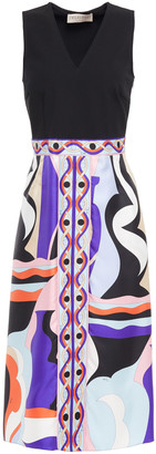 Emilio Pucci Stretch-crepe And Printed Silk-twill Dress