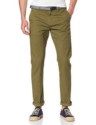 Scotch & Soda Men's AMS Blauw Stuart Chino with Belt in Stretch Peached Quality Trouser,/L30 (Size: 32/30)