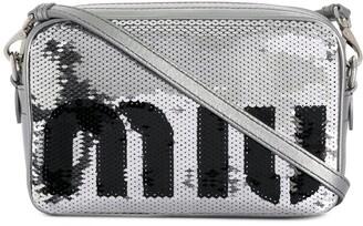 Miu Miu sequined logo crossbody bag