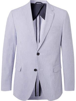 HUGO BOSS Blue Nobis Unstructured Striped Cotton-Blend Seersucker Blazer