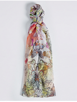 M&S Collection Oriental Butterfly Print Scarf