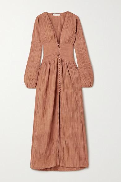 Savannah Morrow The Label + Net Sustain The Oasis Crinkled Organic Cotton-gauze Maxi Dress - Brick