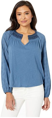 Lucky Brand Embroidered Peasant Top (Blue) Women's T Shirt