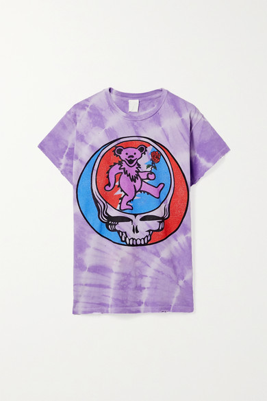 MadeWorn Grateful Dead Distressed Printed Cotton-jersey T-shirt - Purple