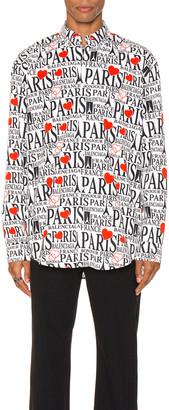 Balenciaga Paris Bonjour Long Sleeve Shirt in White & Black & Red | FWRD
