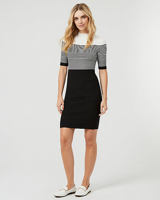 Le Château Stripe Rib Knit Mock Neck Sweater Dress