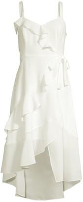 Parker Santana Sleeveless High-Low Ruffle Dress
