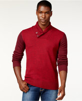 Sean John Colorblocked Twist Shawl-Collar Sweater, Only at Macy's