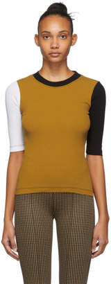 Rosetta Getty Yellow and Black Cropped Sleeve T-Shirt