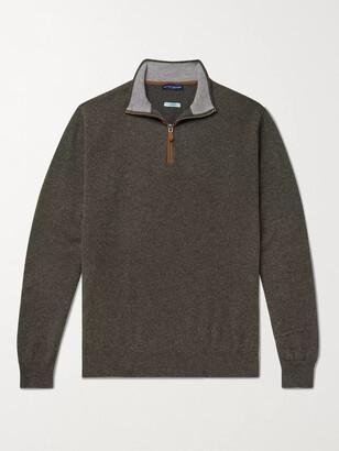 Peter Millar Artisan Slim-Fit Cashmere-Blend Half-Zip Sweater - Men - Green