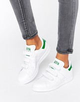 adidas White And Green Velcro Stan Smith Unisex Sneakers