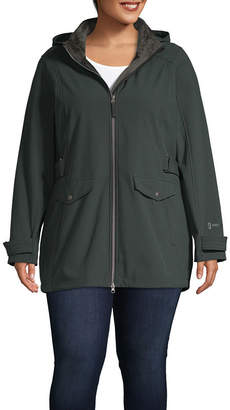 Free Country Hooded Water Resistant Fleece Lined Lightweight Softshell Jacket-Plus