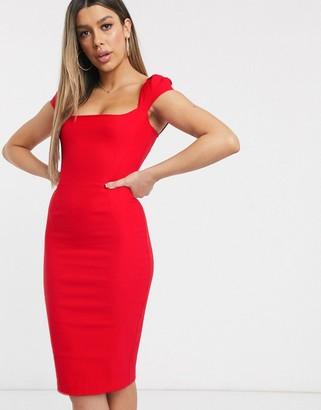 Vesper bodycon midi dress in red