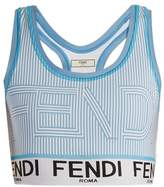 Fendi Striped logo-print performance bra