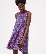 LOFT Floral Mosaic Sleeveless Swing Dress